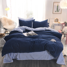 Blue Flannel Elephant Duvet Cover Set Queen Size Fleece Bed Sheet Pillow Case Adults Bedding Sets For Home Beddings(China)