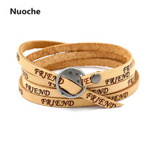 New Europe and United States Womens fashion FRIEND Genuine Leather Bracelet Female multilayer wrapped Lucky Leather Bangle FS291(China)