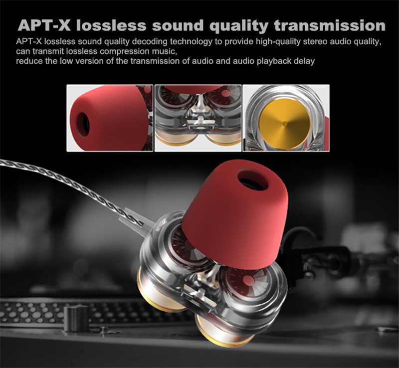 Aidisibe Heavy Bass Earphone Hifi Dual Driver gaming Headset with Mic Earpiece Mp3 Sport fone de ouvido noise reduction Earbuds