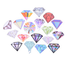 Cute Transparent Diamonds Design Stickers For Snowboard Car Laptop Luggage Skateboard Motorcycle Decal Toy Sticker 18Pcs/lot(China)