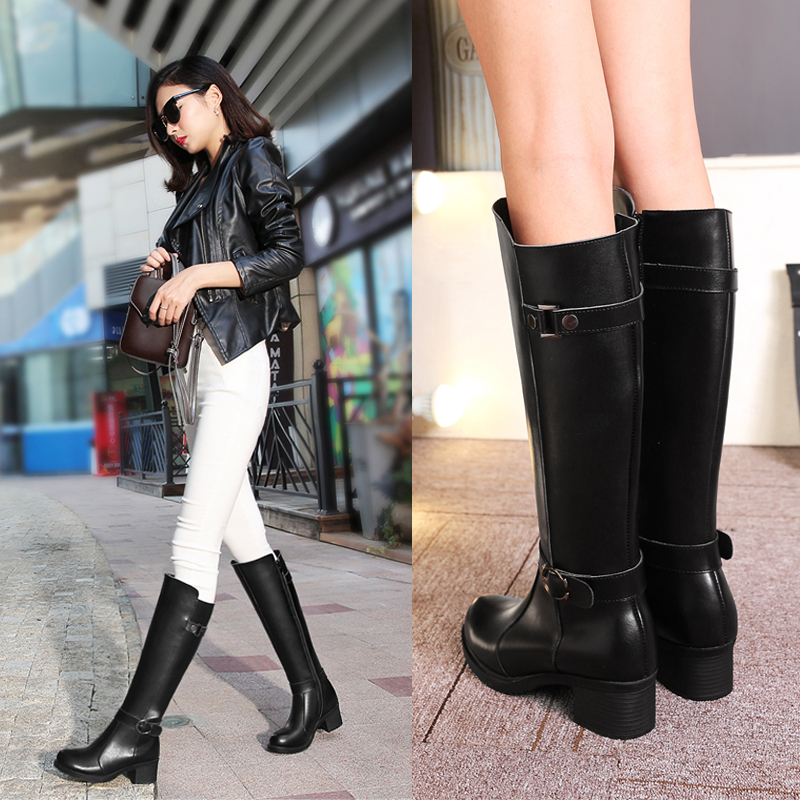 2016 Autumn Women Boots Fashion Winter Knee-High Boots Square Heels Leather Long Boots Buckle Motorcycle Boots Botas Femininas<br><br>Aliexpress
