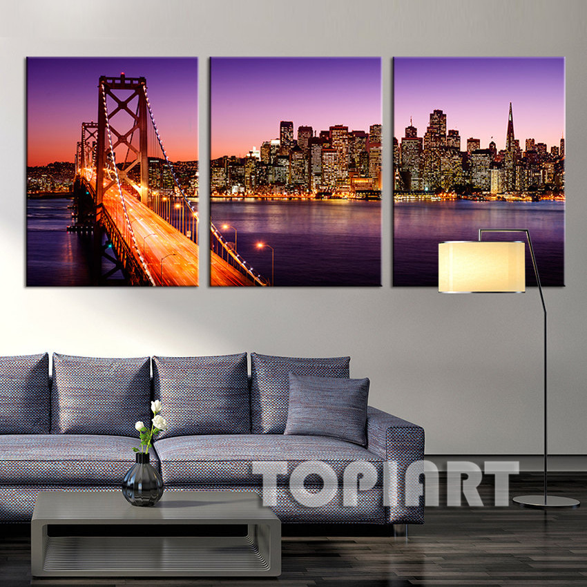 3 Panel City Night Skyline Paintings San Francisco Canvas Print Bay Bridge Sunset California Wall Pictures Home Decor No Frame(China (Mainland))