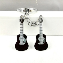 2017 new unique cool famous cute metal guitar key chain ring keychain novelty items creative trinket charm gift women men kids(China)