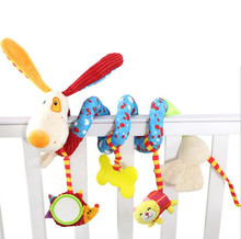 cute Infant Toys Plush Baby Crib Revolves dog Around The Bed  Crib Lathe rabbit Hanging Rattles Mobiles Stroller Playing Toy