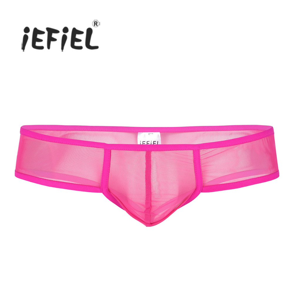 iEFiEL Mens Lingerie Soft Sheer Mesh Wetlook Bulge Pouch Low Rise G-string Thong Hommes Mini Briefs Panties Underwear Underpants
