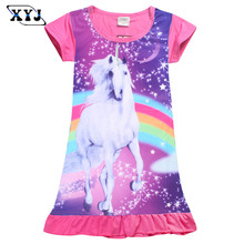2017 Girls Unicorn Dress Moana Costume For Girls Lady Bug Dress Kids Summer Clothes Children Girl Ropa Baby Clothing Beach Dress(China)