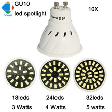Viewi 10x ampoule led spotlight 3W 4W 5W GU10 super bright plastic shell spot light smd 5733 chip 220v 110v home lighting lampen(China)