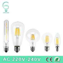 Vintage Retro LED Edison Bulb E27 E14 LED Filament Light 220V 240V LED Lamp 2W 4W 6W 8W LED Glass Ball Bombillas Candle Light(China)