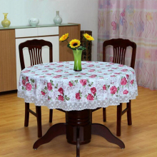 Pastoral Style PVC Round Table Cloth Waterproof Oilproof Flower Printed Plastic Table Cover Home Party Wedding Tablecloth