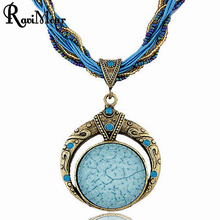 RAVIMOUR Vintage Bohemian Collar Necklace Handmade Imitation Gemstone Jewelry Statement Necklaces Pendants For Women Bijouterie