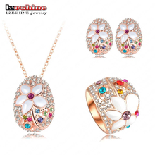 LZESHINE Brand Romantic Jewelry Sets Rose Gold Color Necklace&Pendant/Earring/Ring Enamel Flower Jewelry Set Aretes ST0137-A(China)