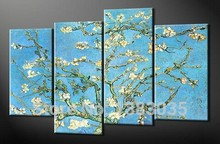 Hand Painted Reproduction Oil Painting Flowers 4pc Van Gogh Almond Branches Canvas Picture Modern Abstract Wall Art Home Decor