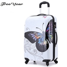 "Hot sales women butterfly ABS trolley suitcase luggage 12""20""24"" design boarding trolley bags Trolley Case Luggage Case Suitcase"