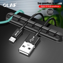OLAF Cable Organizer Silicone USB Cable Winder Flexible Cable Management Clips Cable Holder Mouse Headphone Earphone