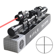 4X20 .22 Caliber Optics Telescope Sniper Airsoft Rifle Scope w/ Red Laser Dot(China)