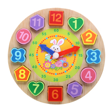 Baby Puzzle Toys Cartoon Rabbit Threading Clock Figure Wooden Toys For Children Educational Geometry Beads Kids Toys Brinquedos