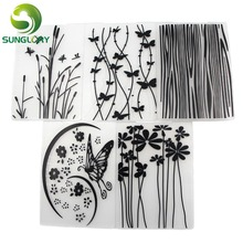 5PCS Flower Texture Sheet Set Butterfly Grass Texture Mat Sugar Craft Decoration Cookie Fondant Cake Mold Cupcake Baking Mold(China)