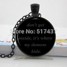HZ--A133 IMAGINE DRAGONS Black Dome Necklace - Song Lyrics Quote Pendant - Music Jewelry -Demons Link Chain Glass Necklaces