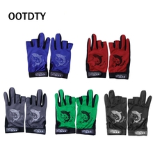 OOTDTY 1Pair Waterproof 3 Cut Finger Anti-slip Non-Slip Fishing Gloves Outdoor Sport 100% Brand New High Quality