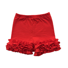 Cotton Girls Ruffle Shorts Maroon Toddler Shorts for girl Kids Knit Icing Girl Shorts Children spring/Summer Clothes Shorties1-9