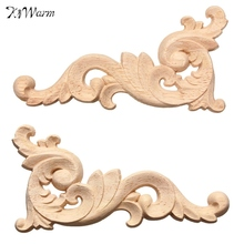 Fashion 1pc Woodcarving Decal Corner Applique Frame Door Decorate Wall Doors Furniture Decorative Figurines Wooden Miniatures(China)