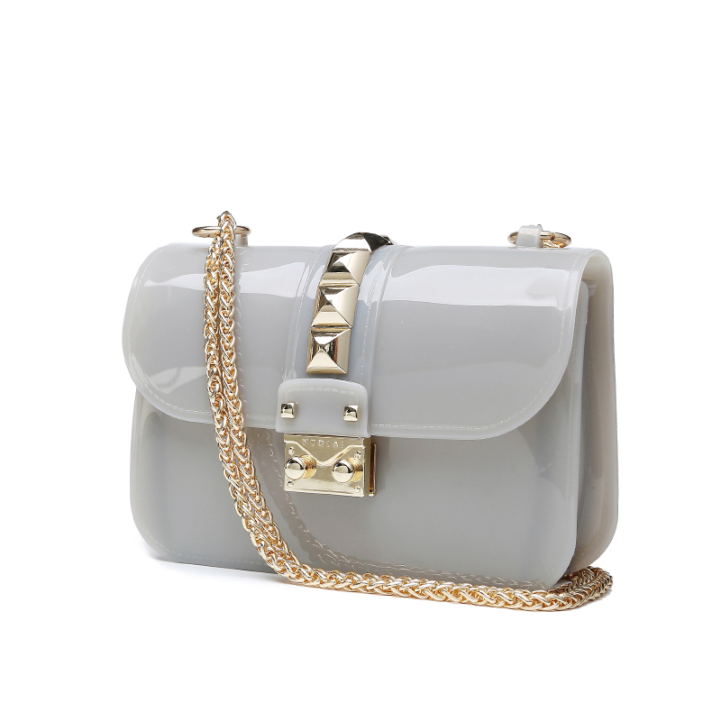 2017 Fashion Brand Jelly Shoulder Bags PVC For Women Lady Girl Mini Chain Rivet Bolsas Crossbody Bag Female Bolsa Feminina<br>