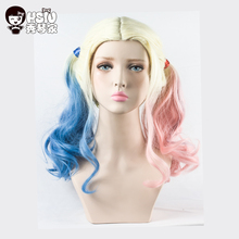 Harley Quinn cosplay wig Suicide Squad and Batman costume play wigs HSIU High Temperature Fiber hair