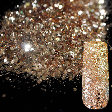 Pure Champagne Glitter Nail Art Tool DIY Glitter Mix Size Acrylic Powder Pentagon Sequins Sheet Nail Supplies Decoration 273(China)