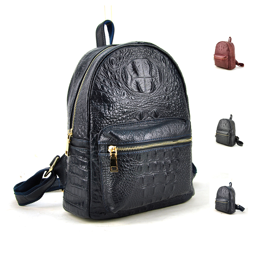 New 2016 Fashion Women Backpack Crodile Alligator 100% Genuine Cow Leather Travel Daily School Bags Casual Fashion Purse<br>
