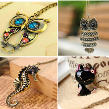 2016 New Arrival Women Pendant Necklaces The Retro Owl Long Paragraph Sweater Chain Decorative Crystal Necklace Pendant Gift
