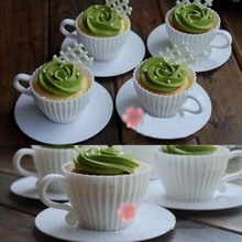 1 Set of 4pcs Silicone Cupcake Cups Muffin Baking Cake Tea Saucers Teacup Mold Mould + 4pcs Saucers (8pcs)