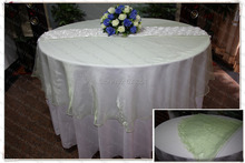 210cm Round NO.20 Light Green Organza Table Overlay/Table Cover/Tablecloth For Wedding Party Home Hotel Banquet Decorations