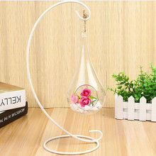 Lantern Candle Hanging Iron Stand Holder Bracket Table Glass Bottle Rack Decor(China)