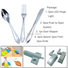 9x Silver Spoon Knife Fork Kitchen Cupboard Cabinet Drawer Handles+1x Door Stopper + 5x Push to open system + 2x Led Hinge Light(China)