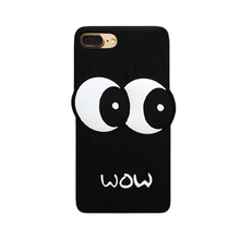 2017 The Newest Fashon korea classic cartoon hot cute big eye sexy eyelash black soft silicone cell phones case cover For Iphone