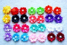 100pcs/lot dog hair bows rubber bands petal flowers bows pearls hair pet dog grooming bows dog hair accessories product for dog(China)