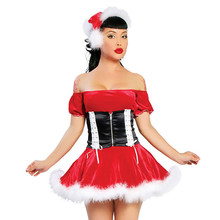 High Quality New Fashion Adults Womens Santa Claus Costume Red Velvet Dress Sexy Cute Christmas Party Fancy Dress(China)