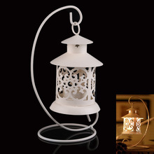 Iron Moroccan Style Candlestick Candleholder Candle Stand Lantern White