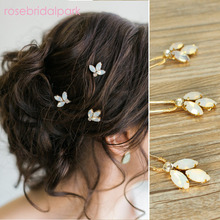 rosebridalpark vintage gold crystal hairpins pins wedding hair accessories bridal jewelry rhinestone headpieces 3pcs lot T208