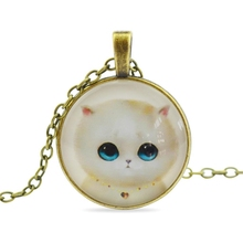 Vintage 2016 fashion jewelry sweet cat glass cabochon pendant necklace hand Antique Bronze necklace chain  N59