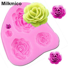 Milkmico M025 Rose Flower shape fondant molds silicone mould kitchen accessories biscuit sweets and candy food cake decorating