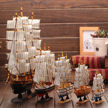 Wooden Ship Model Nautical Decor Home Crafts Miniatur Marine Blue Wooden Sailing Ship Wood Boat(China)