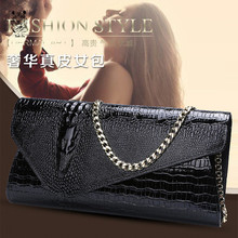 New Style Genuine Leather Women Evening Clutch Bags Luxury Leather Women Evening Bags Metal Chain Women Messenger Bag(China)