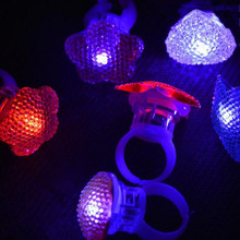 Fashion LED Light Finger Ring Flashing Acrylic Finger Rings Kids Girls Toys Accessories Party Glow Ring Christmas New Year(China)