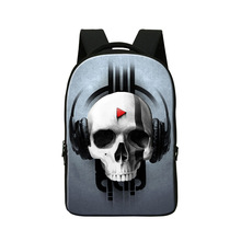 Ghost head printing school backpack for high class students,mens skull bakc pack laptop bag,women's fashion School Bags for Boys