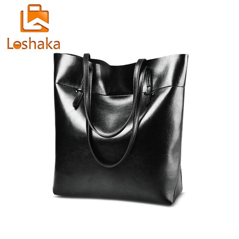 LOSHAKA PU Leather Handbags  Women Bag Large Capacity Shoulder Bags Fashion Female Casual Tote Solid Luxury Business Bucket Bag<br><br>Aliexpress