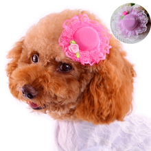 4pcs/lot Pink/Rose Flower Hairpin Dog Puppy Bows Pet Hair Products Y045  Chihuahua Yorkshire Cat Animals Grooming Accessories
