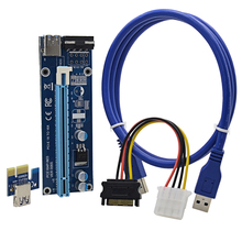 CHIPAL VER006S 1M PCIe PCI-E PCI Express 1X to 16X Riser Card Extender + USB 3.0 Cable / SATA to 4Pin Power Cord for BTC Miner(China)