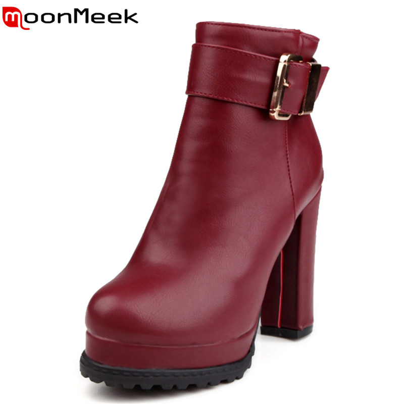 2017 new arrive high quality fashion platform buckle ankle boots round toe zip soft leather solid square high heels boots women <br><br>Aliexpress