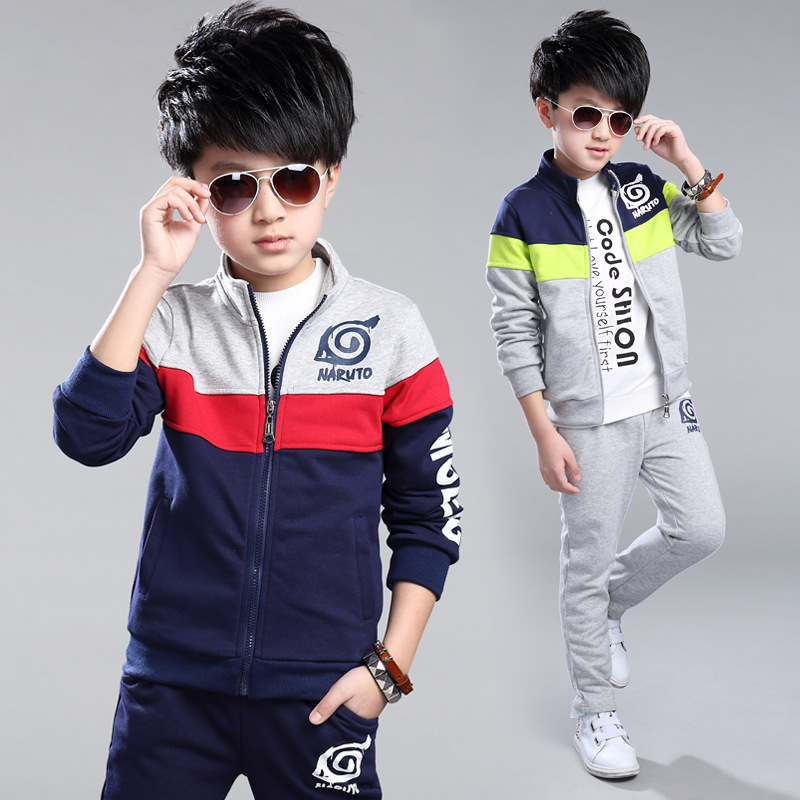Boys Clothes Set 5 6 7 8 9 10 11 12 13 14 15 Spring Color Matching Kids Sport Suit Long Sleeve Letter Outwear + Pant 2pcs Set<br>